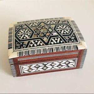 Egyptian Inlaid Mother of Pearl Wooden Jewelry Box